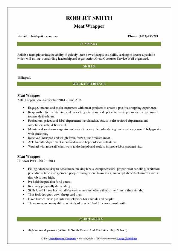 Meat Wrapper Resume Format