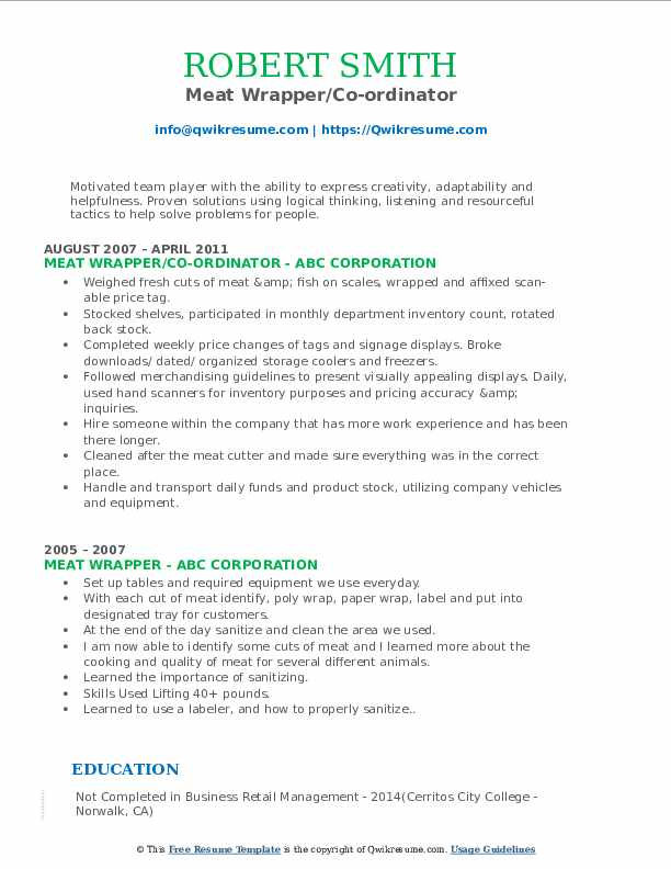 Meat Wrapper/Co-ordinator Resume Sample