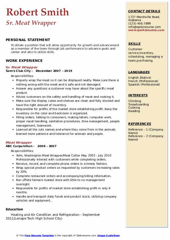 Sr. Meat Wrapper Resume Format