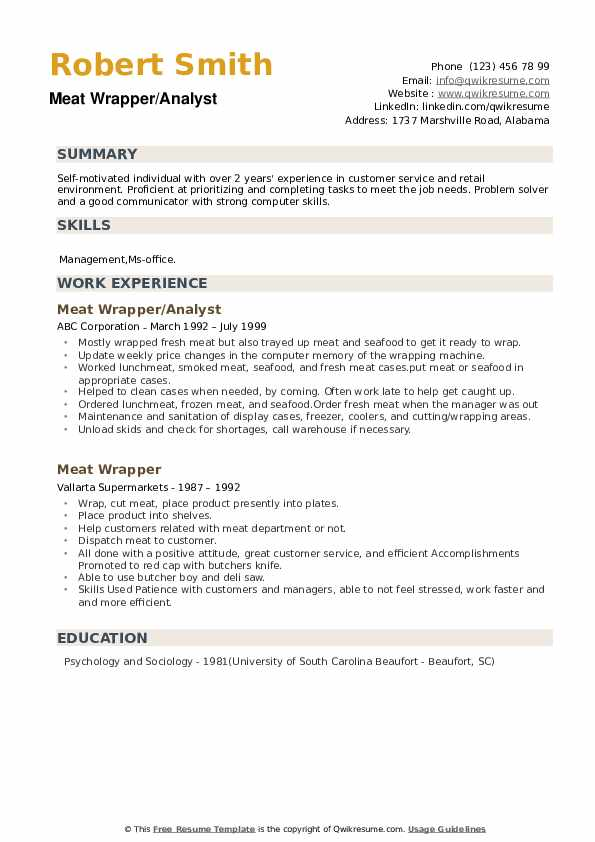 Meat Wrapper/Analyst Resume Sample