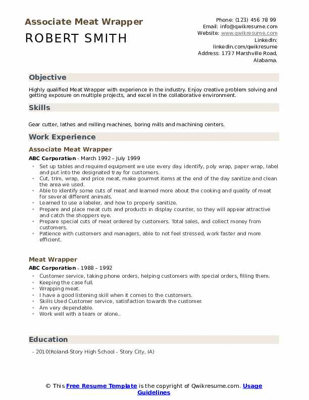 Associate Meat Wrapper Resume Model
