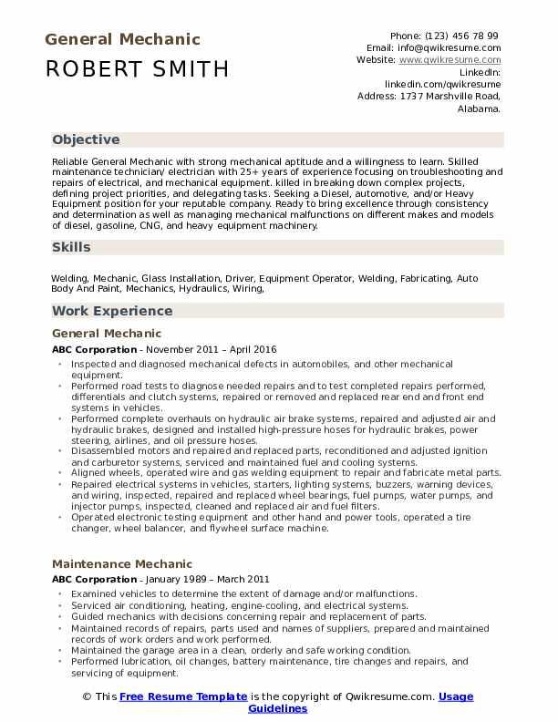 General Mechanic Resume Example