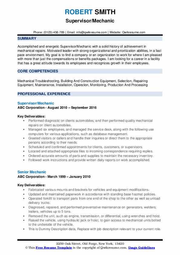 Supervisor/Mechanic Resume Format
