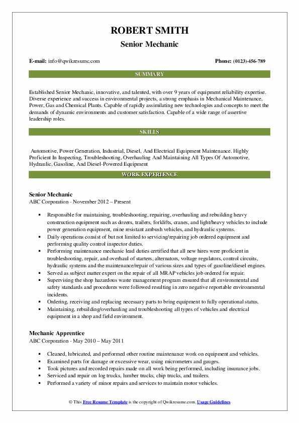 Senior Mechanic Resume Example