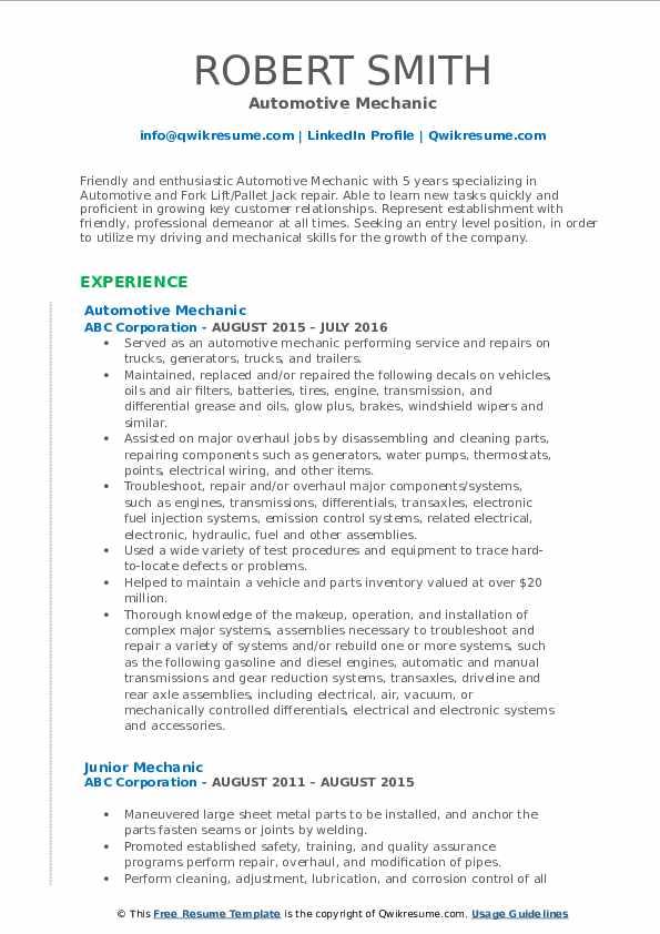 Automotive Mechanic Resume Format