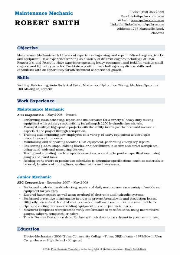 Maintenance Mechanic Resume Template