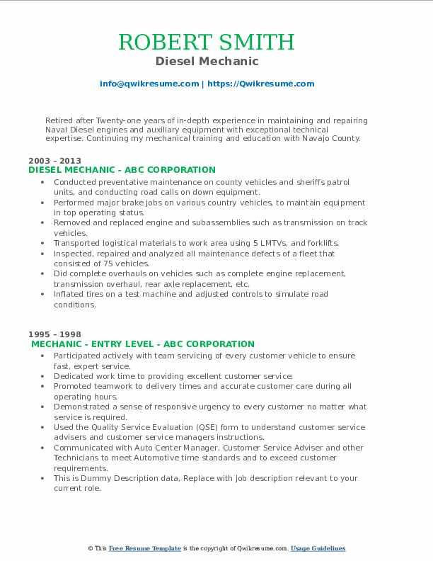 Diesel Mechanic Resume Example