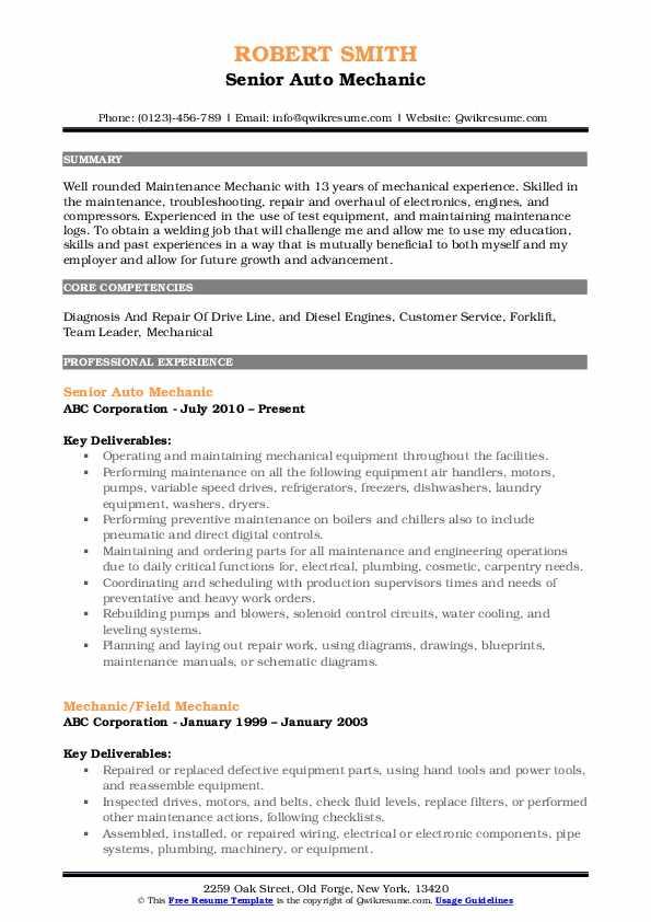 Senior Auto Mechanic Resume Template