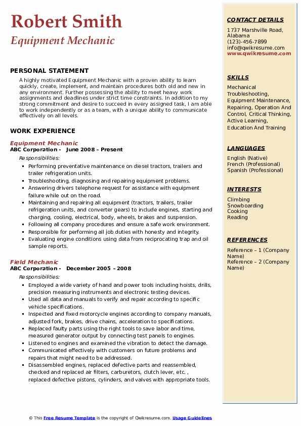 Equipment Mechanic Resume Example
