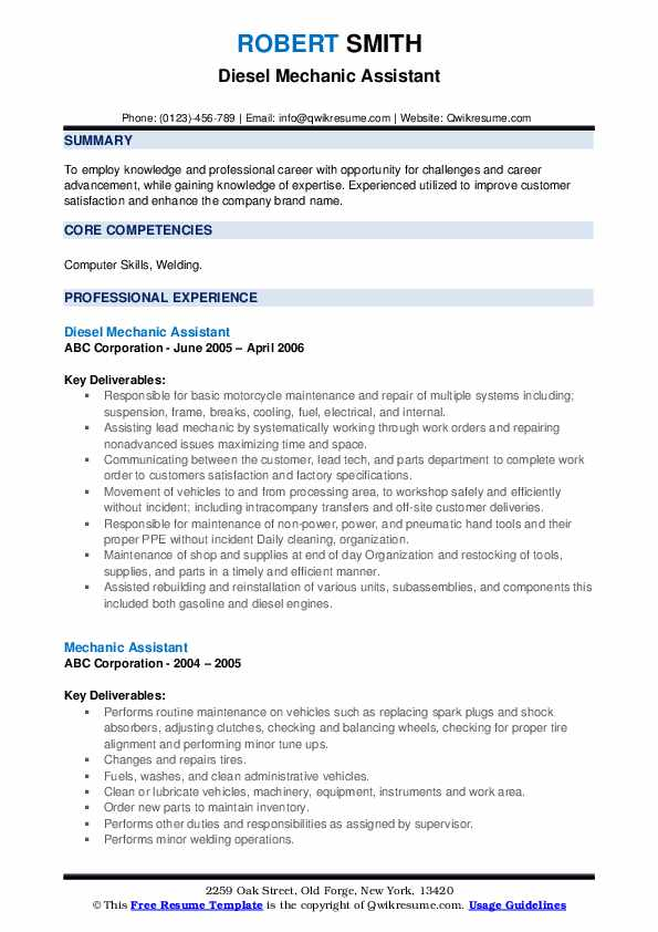 Diesel Mechanic Assistant Resume Example