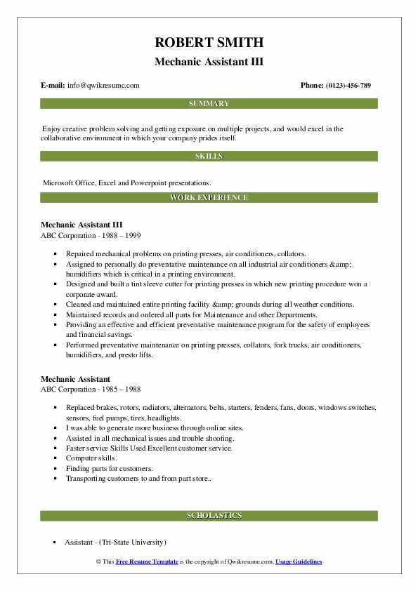Mechanic Assistant III Resume Example