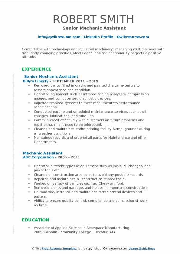 Senior Mechanic Assistant Resume Format