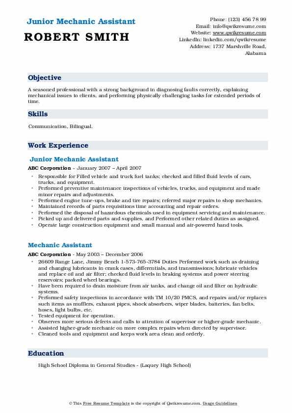 Junior Mechanic Assistant Resume Template