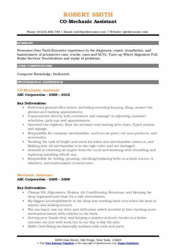 CO-Mechanic Assistant Resume Format