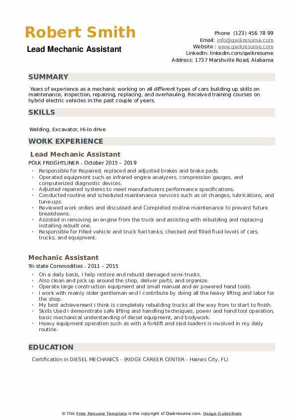 Lead Mechanic Assistant Resume Model