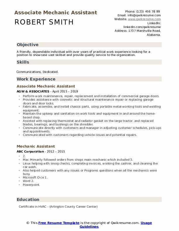 Associate Mechanic Assistant Resume Example