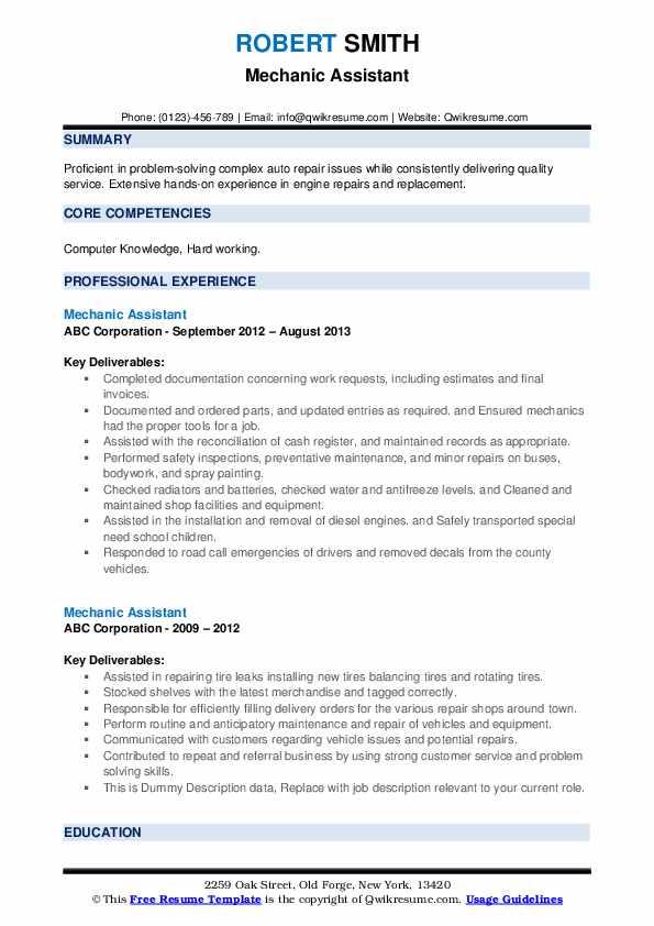 Mechanic Assistant Resume example