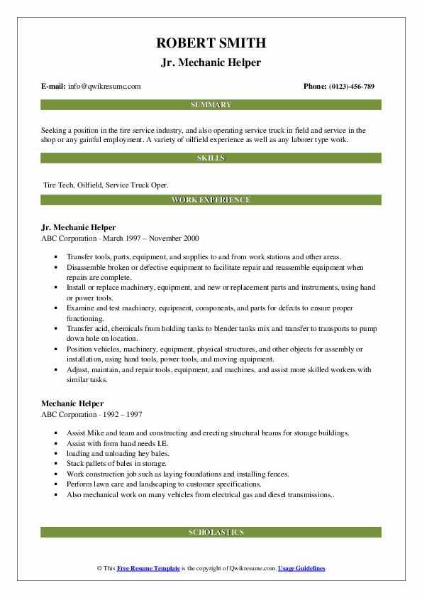 Jr. Mechanic Helper Resume Format
