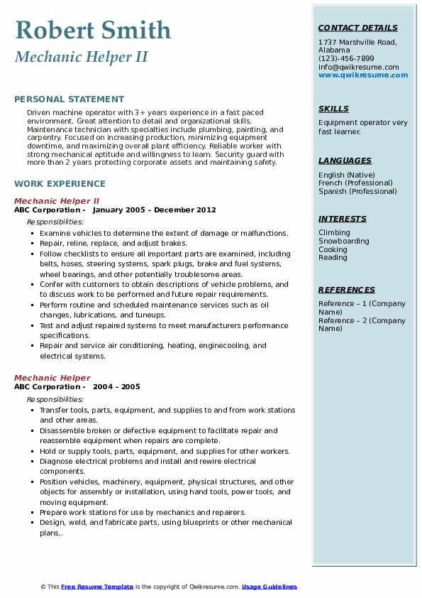 Mechanical Helper Resume Pdf Resume Examples Resume Template