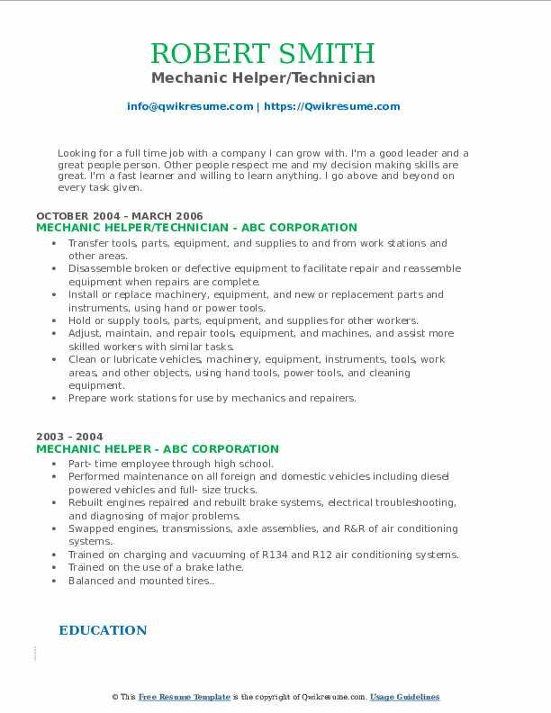 Mechanic Helper/Technician Resume Sample