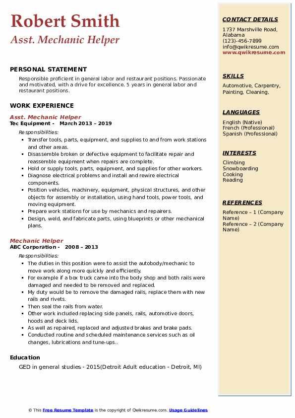 Asst. Mechanic Helper Resume Model