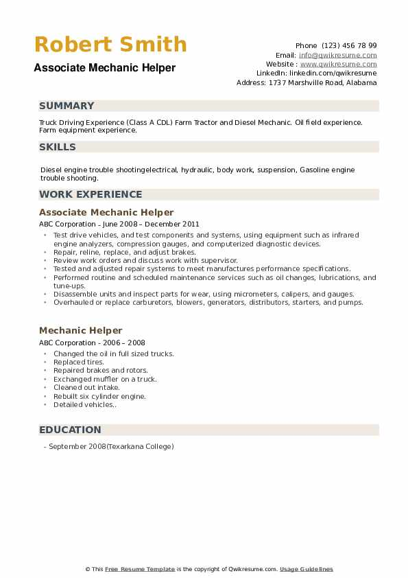 Mechanic Helper Resume Samples Qwikresume