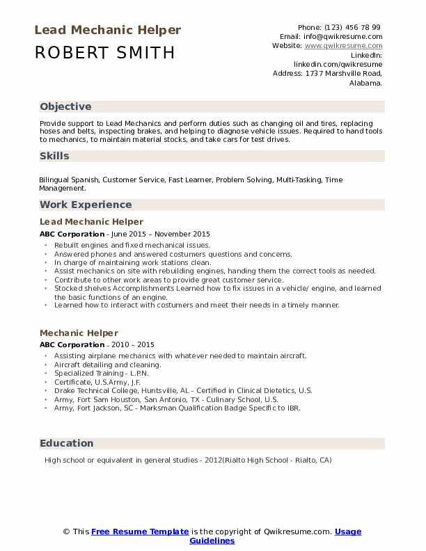 Lead Mechanic Helper Resume Format