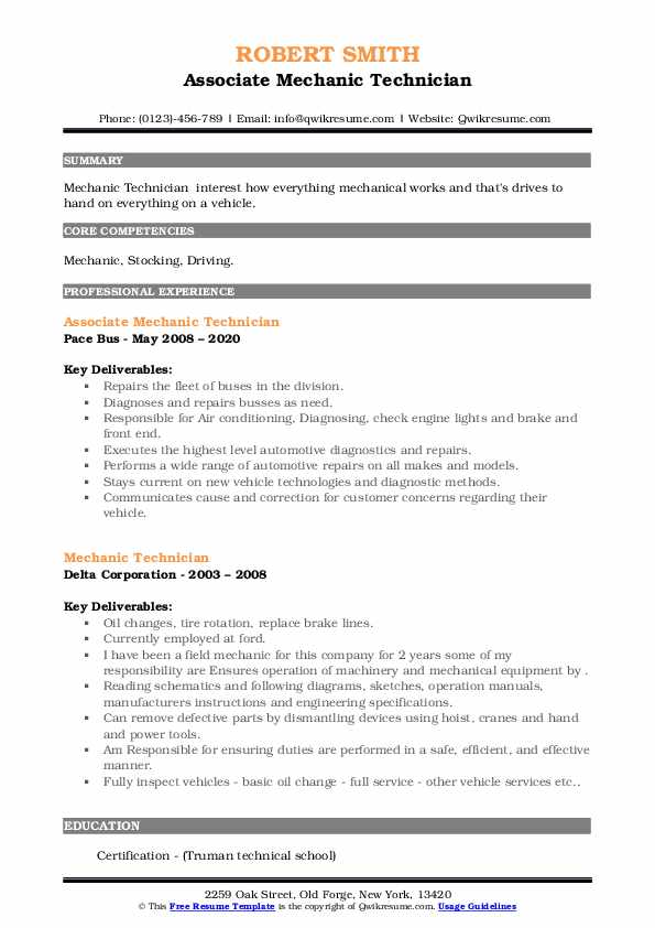 Mechanic Technician Resume Samples | QwikResume