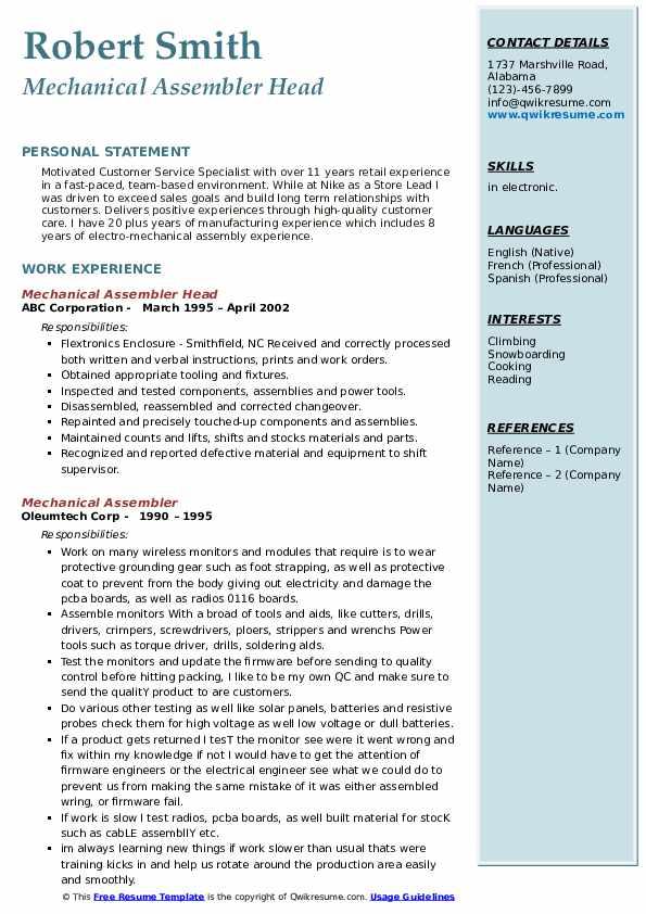 mechanical assembler resume samples