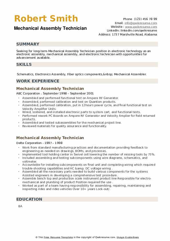 Mechanical Assembly Technician Resume example