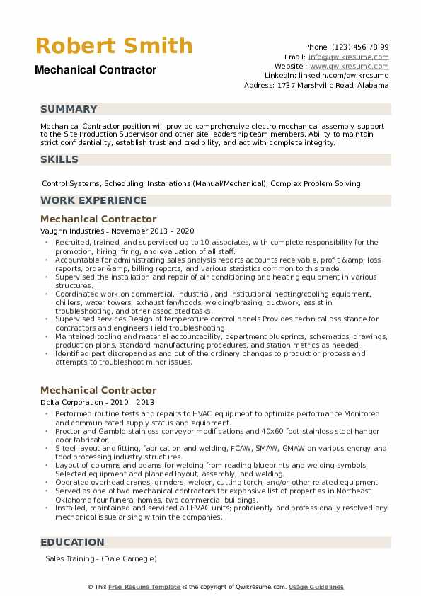 Mechanical Contractor Resume example