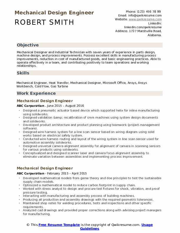 Mechanical Design Engineer Resume Format