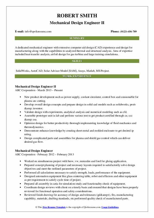 Mechanical Design Engineer II Resume Template