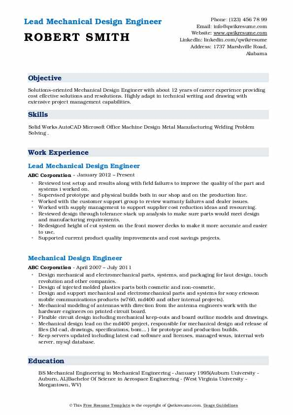 Lead Mechanical Design Engineer Resume Format