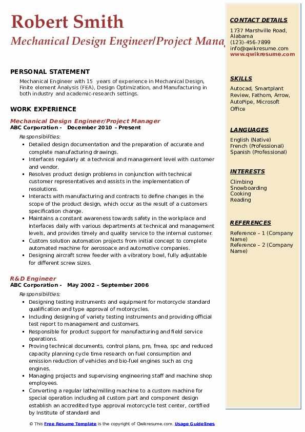 Mechanical Design Engineer/Project Manager Resume Sample
