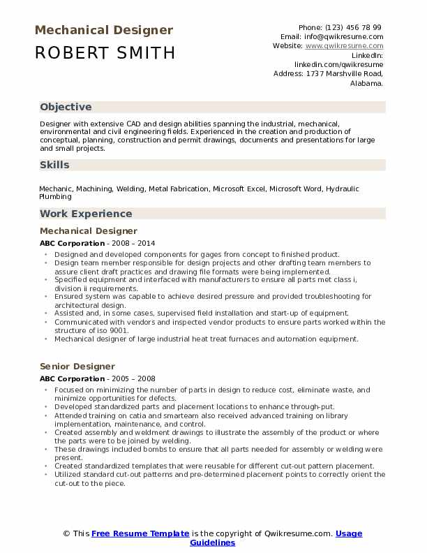 Mechanical Designer Resume Samples Qwikresume