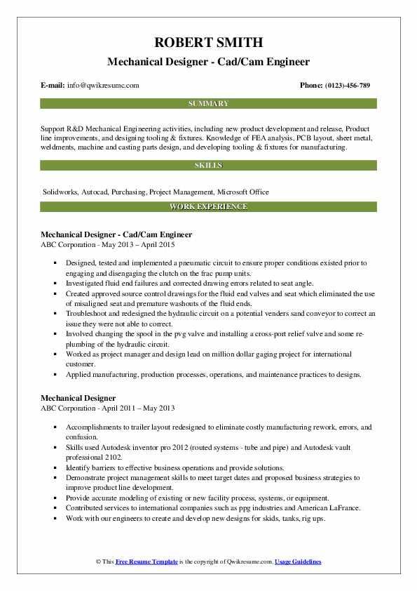 Mechanical Designer - Cad/Cam Engineer Resume Template