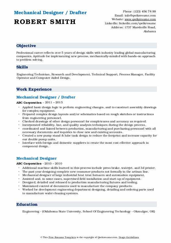 Mechanical Designer / Drafter Resume Example