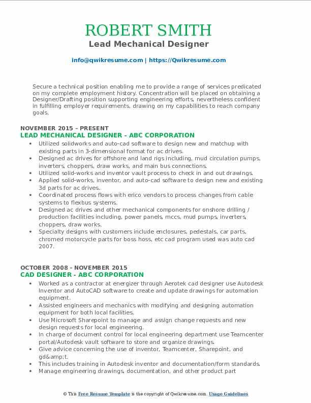 Lead Mechanical Designer Resume Format