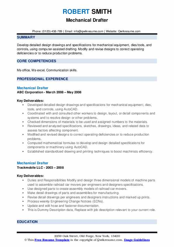 Mechanical Drafter Resume example