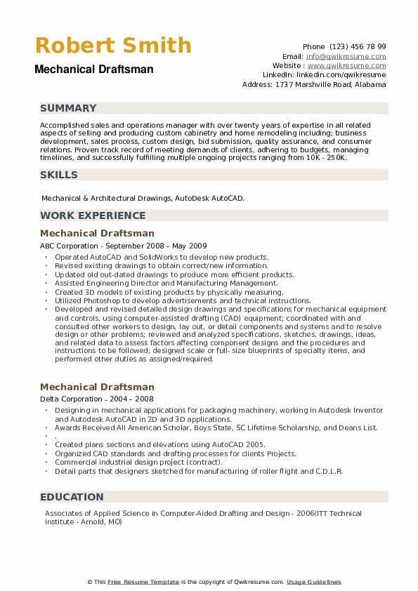 Mechanical Draftsman Resume example
