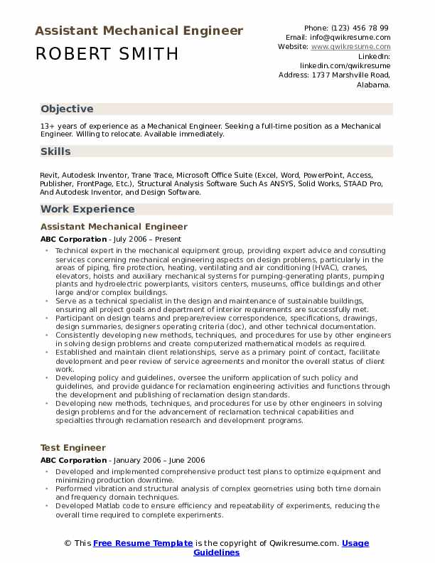 Assistant Mechanical Engineer Resume Example