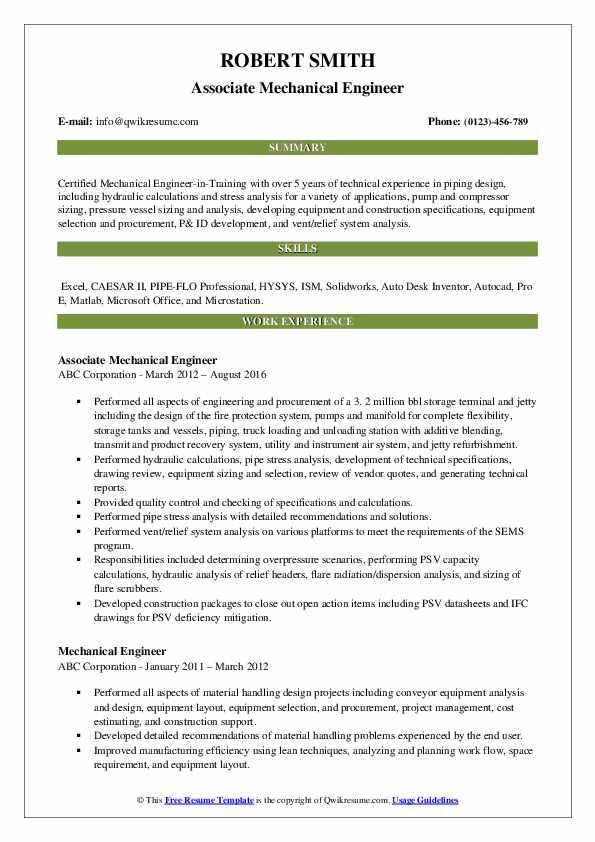 Associate Mechanical Engineer Resume Template
