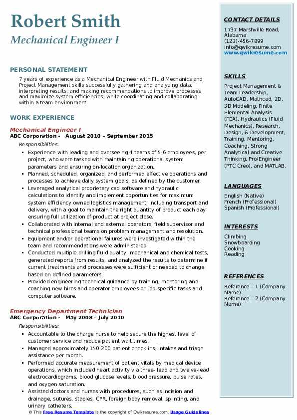 Mechanical Engineer Resume Samples | QwikResume