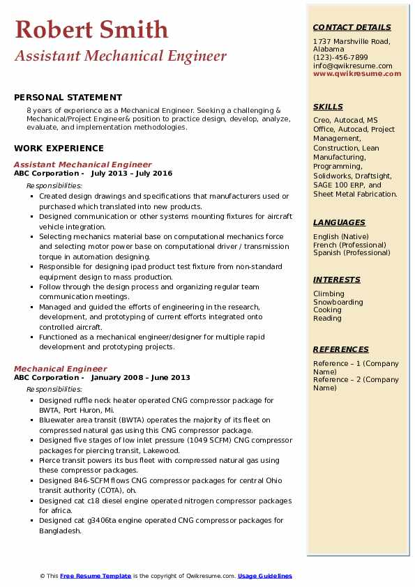 Assistant Mechanical Engineer Resume Sample