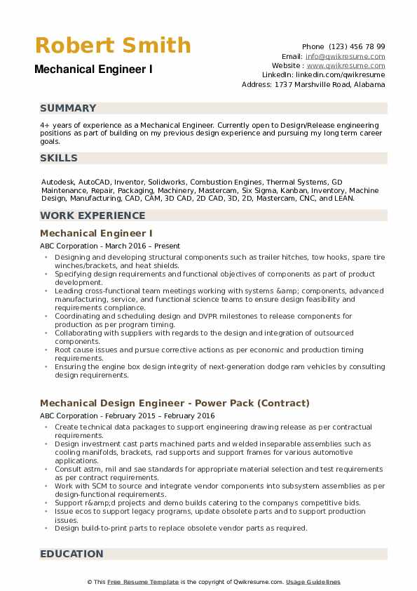 Mechanical Engineer Resume Example.Mechanical Engineer Resume Samples Qwikresume