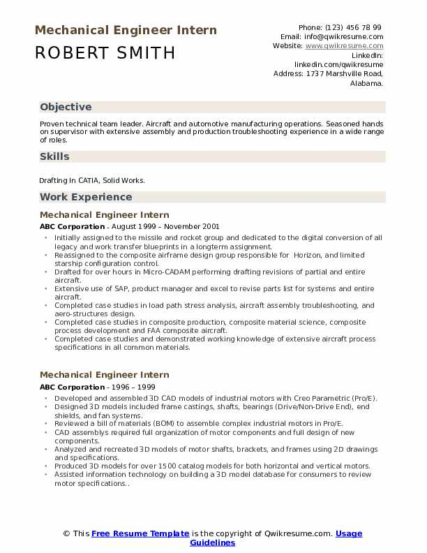 Mechanical Engineer Intern Resume Format