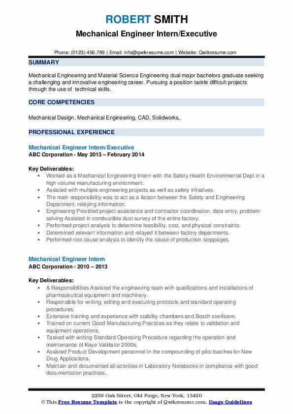 Mechanical Engineer Intern/Executive Resume Format