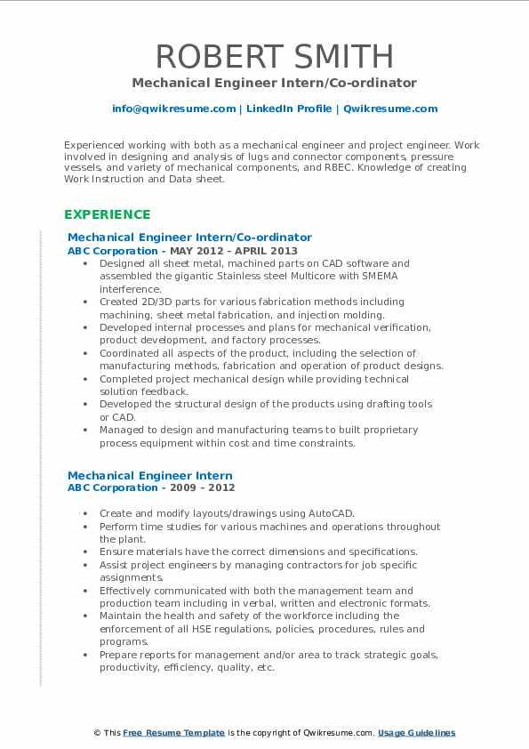 Mechanical Engineer Intern/Co-ordinator Resume Model