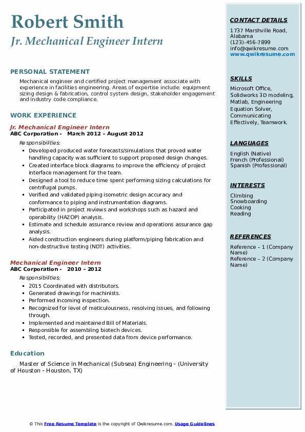 Jr. Mechanical Engineer Intern Resume Model